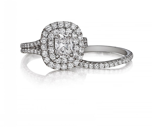 18K White Gold Pave Diamond Double Halo Engagement Ring  - Henri Daussi