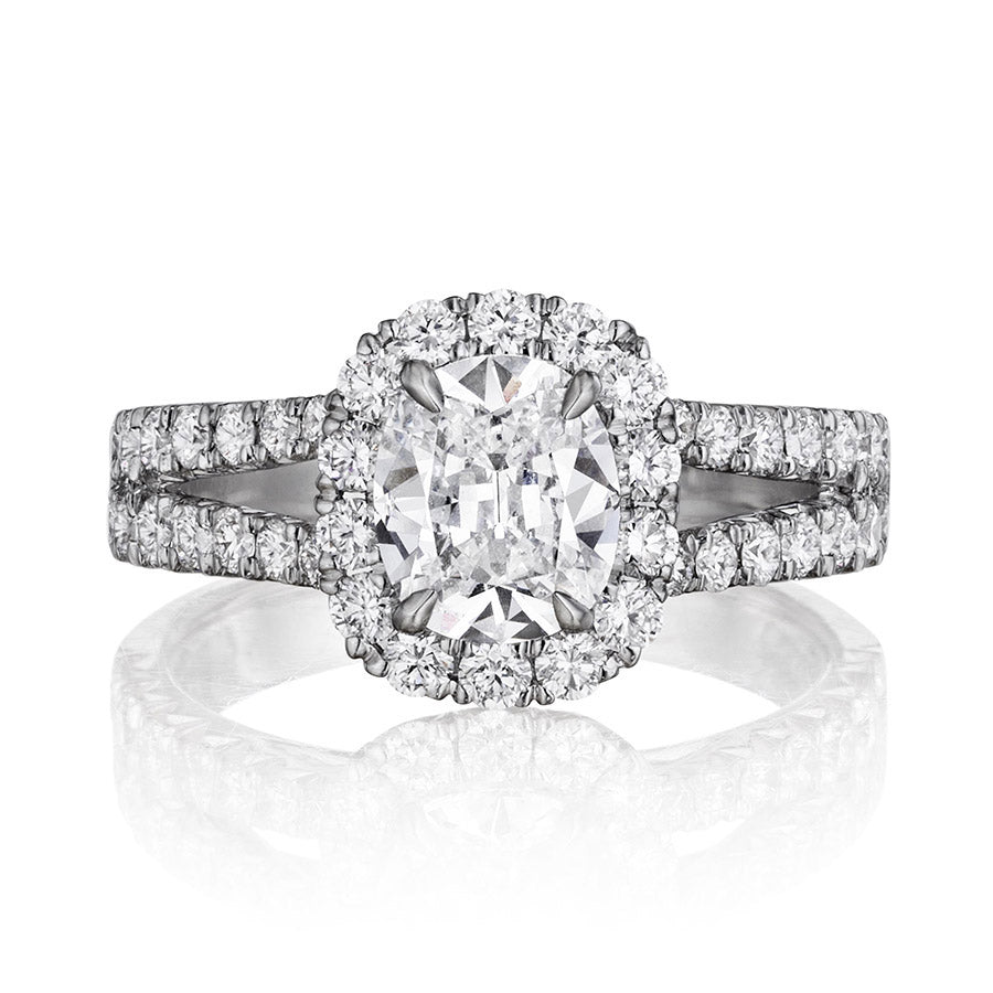18k White Gold Cushion Cut Diamond Engagement Ring - Henri Daussi