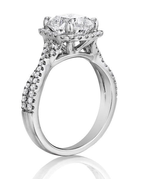 18K White Gold Twisted Shank Diamond Halo Engagement Ring - Henri Daussi