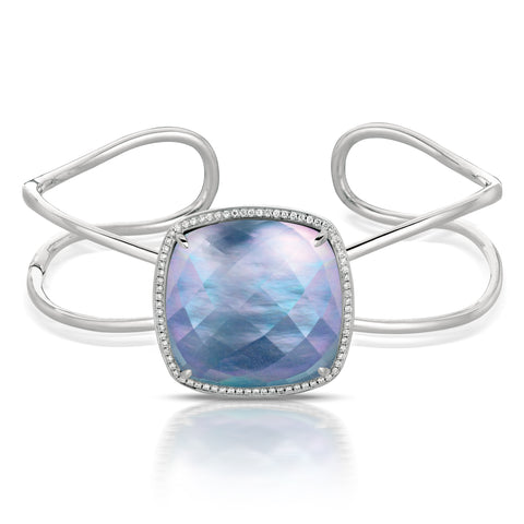 14K White Gold Mother of Pearl/Lapis Bangle