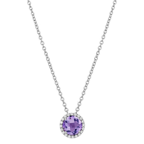 Amethyst and Lassaire Diamond Halo Pendant