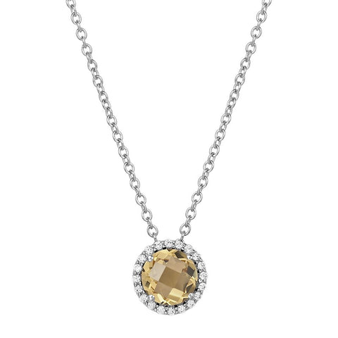 Citrine and Lassaire Diamond Halo Pendant