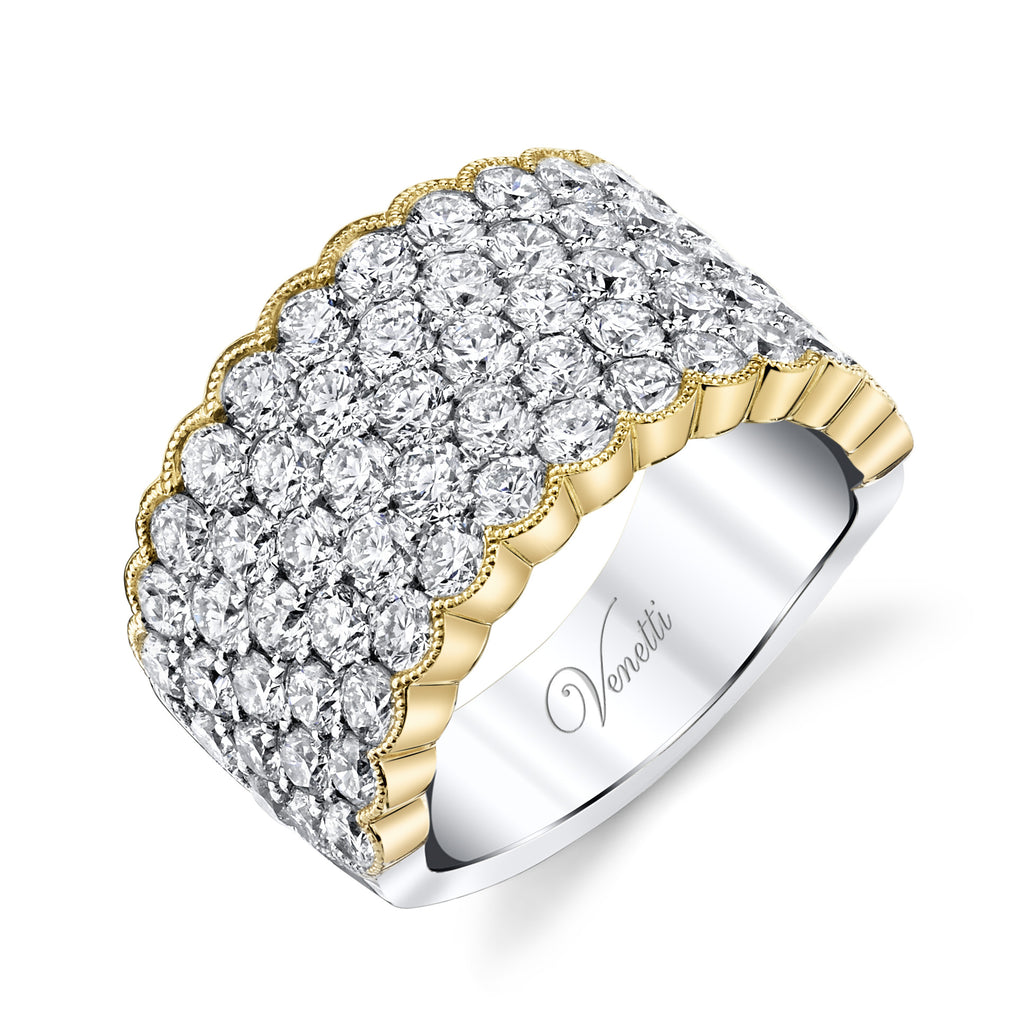 Scallop Edge Two Tone Diamond Row Ring - Kuhn's Jewelers