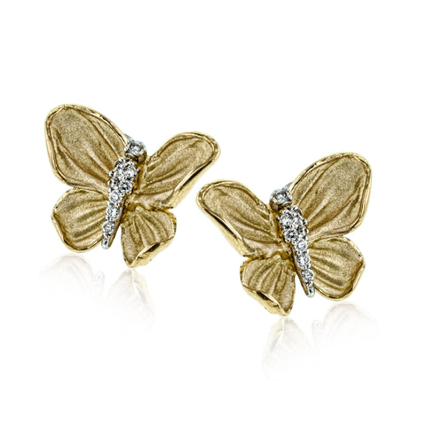 18K YG Butterfly Earrings