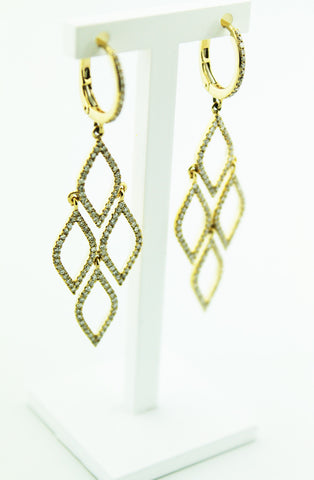 Diamond & Yellow Gold Chandelier Earrings - Kuhn's Jewelers