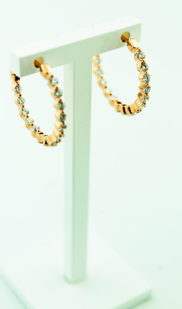 Rose Gold Inside/Outside Diamond Hoops - Kuhn's Jewelers