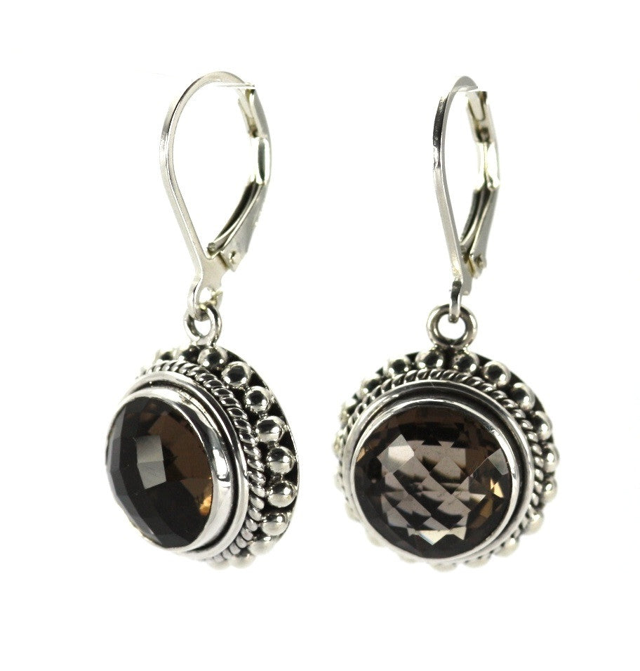 Silver Bali Round Smokey Topaz Earrings - Kuhn's Jewelers