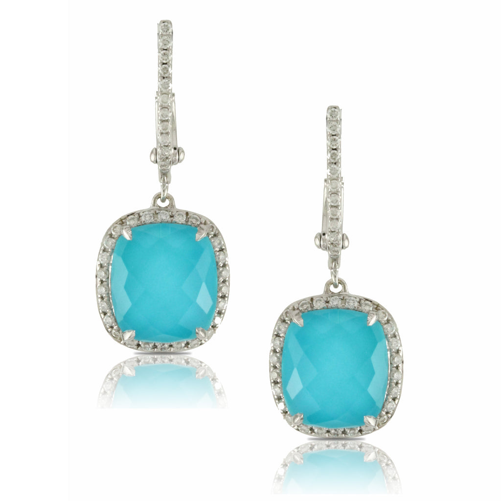 18K White Gold Diamond and Turquoise Earrings