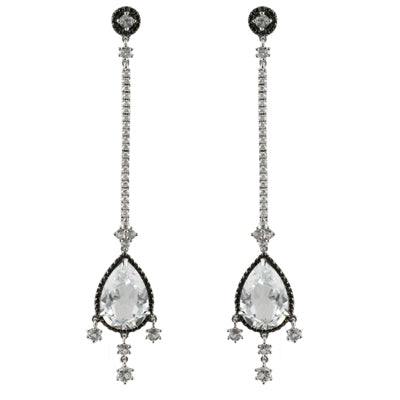 Doves - 18K White Gold and Topaz Earrings