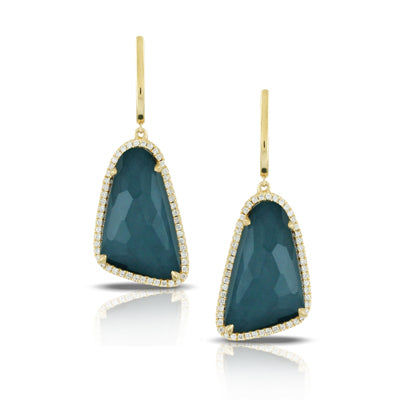 Doves - 18K Yellow Gold Midnight Ocean Earrings