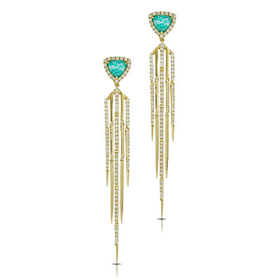 Doves - 18K Yellow Gold Amazonite drop Earrings