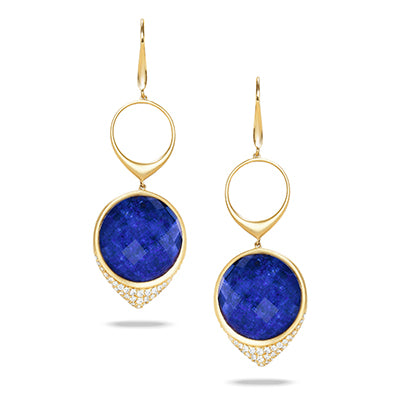 Doves - 18K Yellow Gold Lapis Earrings