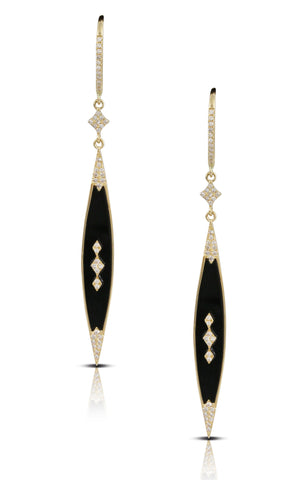 Diamond Onyx Earrings