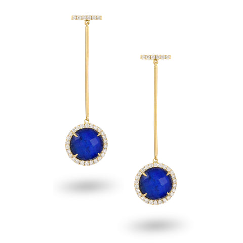 Diamond & Lapis Earrings