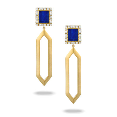 Doves - 18K Yellow Gold Royal Lapis Earrings