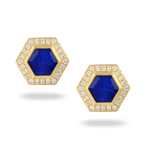 18K Yellow Gold Diamond/Lapis Earring