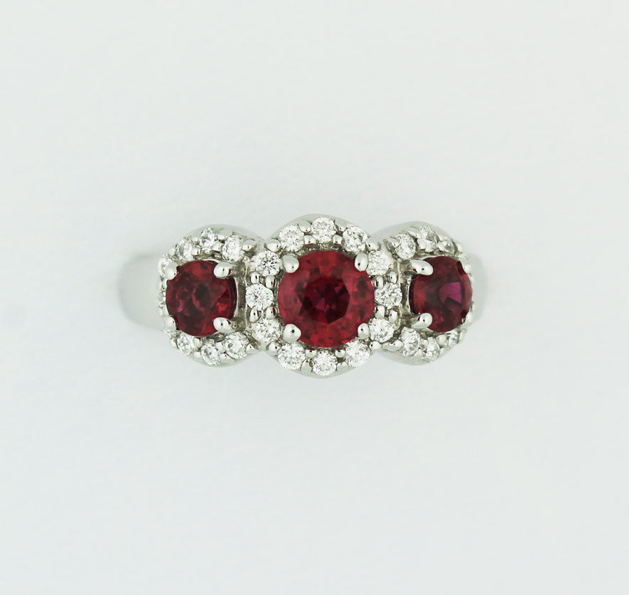 Three Stone Ruby & Diamond Ring - Kuhn's Jewelers - 1