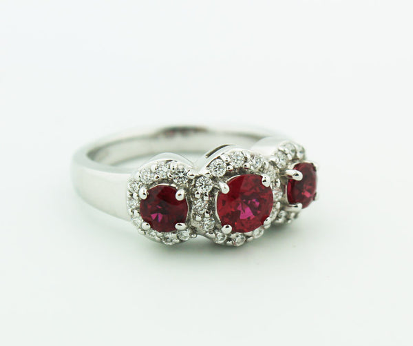 Three Stone Ruby & Diamond Ring - Kuhn's Jewelers - 2