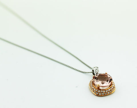 Diamond & Morganite Pendant Necklace - Kuhn's Jewelers - 1
