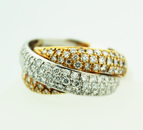 Rolling Tri-Gold & Diamond Band - Kuhn's Jewelers - 1