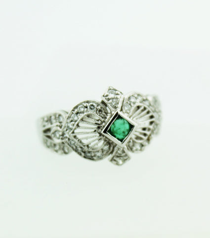 Victorian Filigree Emerald & Diamond Ring - Kuhn's Jewelers - 1