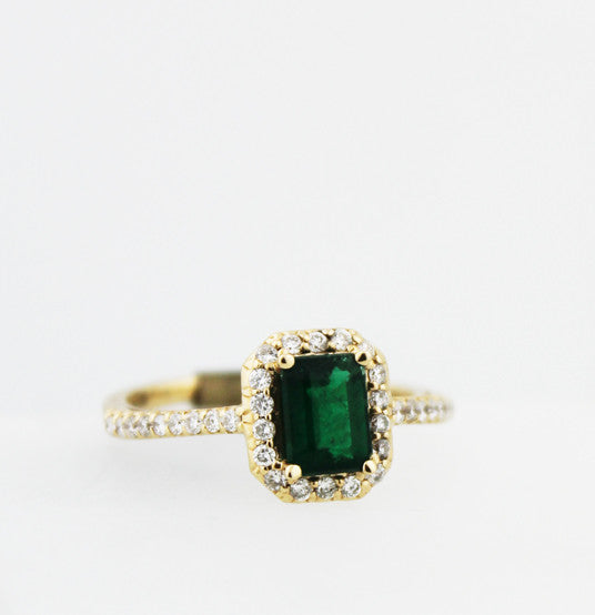 Emerald & Diamond Yellow Gold Ring - Kuhn's Jewelers - 1