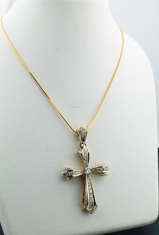 Diamond & Yellow Gold Cross Necklace - Kuhn's Jewelers - 1