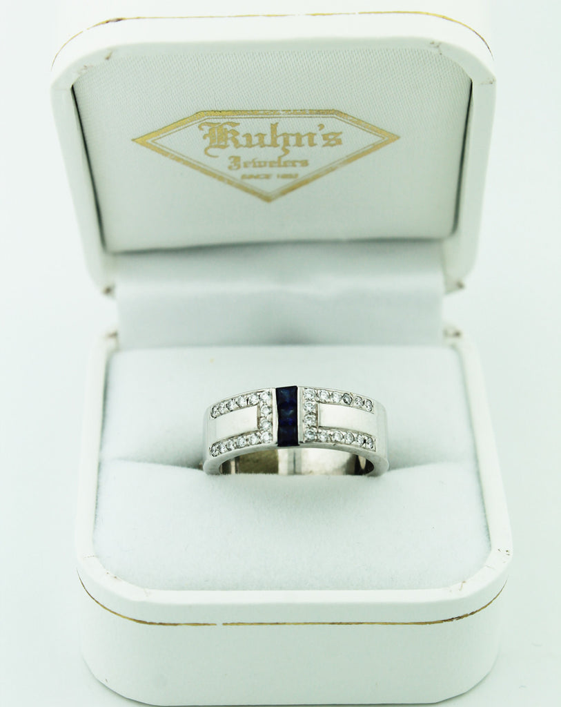Sapphire and Diamond Wide Band - Kuhn's Jewelers