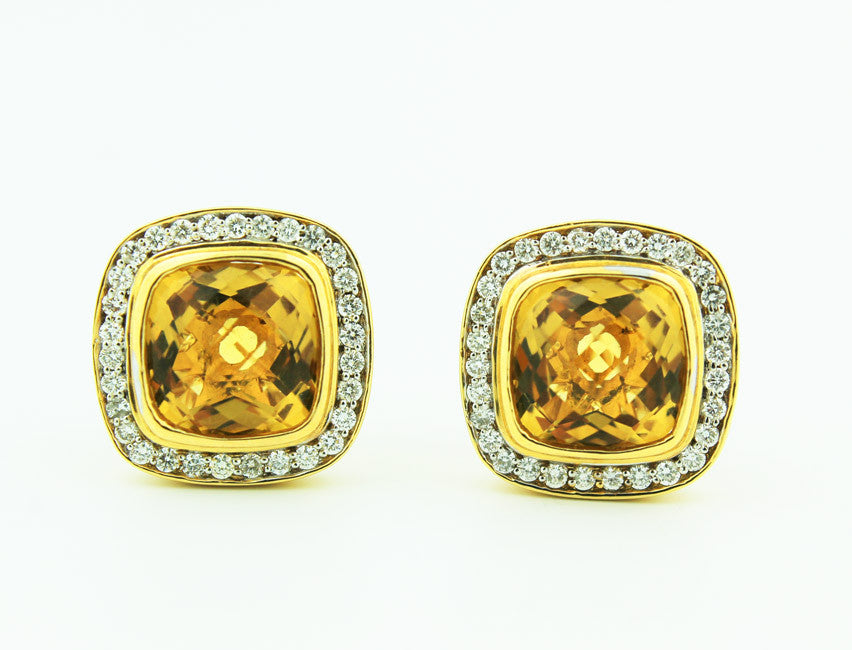 Citrine and Diamond 14K Yellow Gold Studs - Kuhn's Jewelers