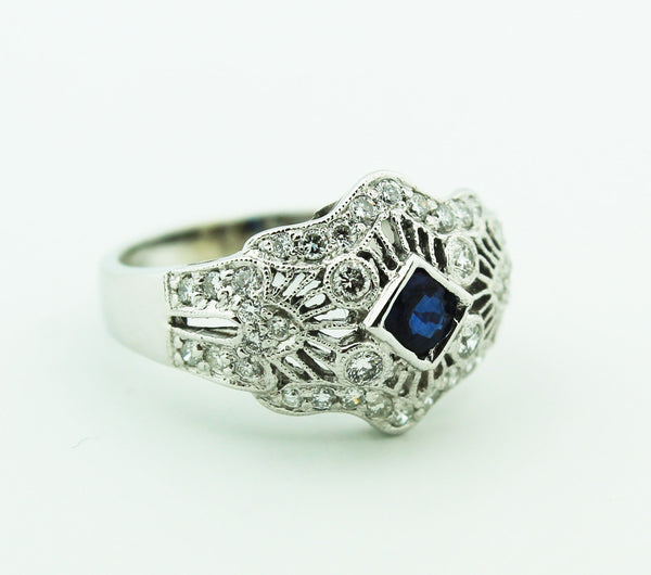 Victorian Filigree Sapphire & Diamond Ring - Kuhn's Jewelers - 1