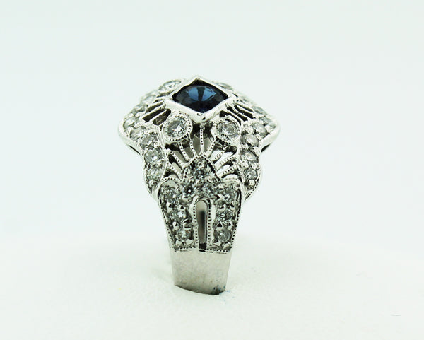 Victorian Filigree Sapphire & Diamond Ring - Kuhn's Jewelers - 2