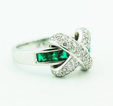 Diamond & Emerald Crossover Ring - Kuhn's Jewelers - 1
