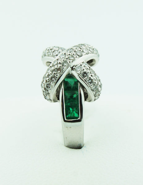 Diamond & Emerald Crossover Ring - Kuhn's Jewelers - 2