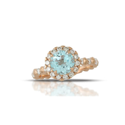 Doves - Little Bird Bridal - 18K Rose Gold and Blue Topaz and Diamond Halo Ring