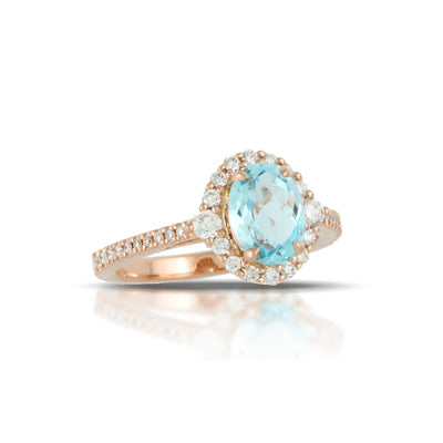 Doves - Little Bird Bridal - 18K Rose Gold and Blue Topaz Diamond Halo Ring