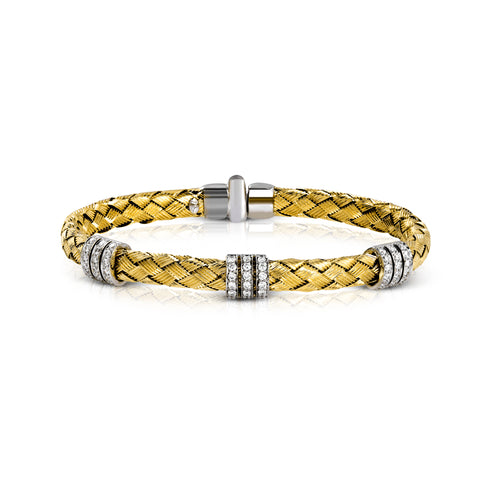 2Tone Gold and Diamond woven bangle