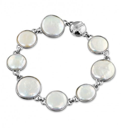 "Sterling Silver 12-16mm White Baroque Coin Freshwater Cultured Pearl 7.5"" Magnetic Bracelet - Kuhn's Jewelers"