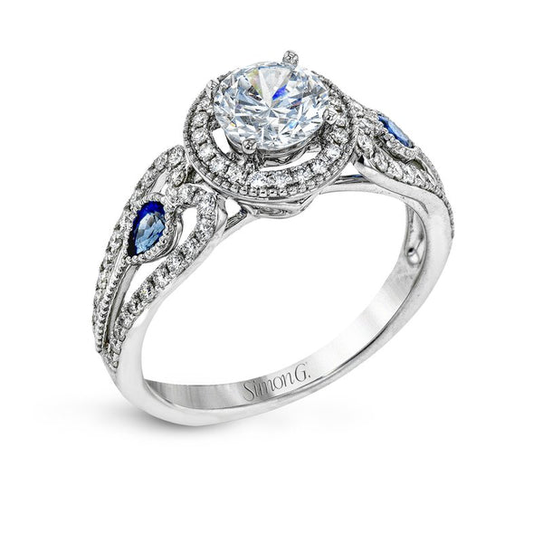 18K Diamond and Sapphire Halo Engagement Ring