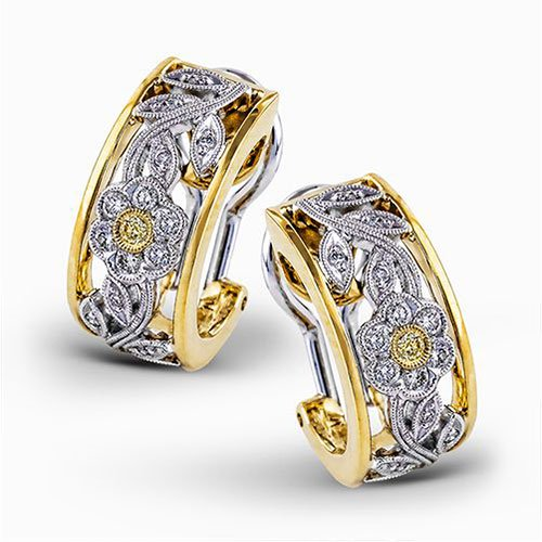 18K Yellow & White Gold Diamond Garden Earrings