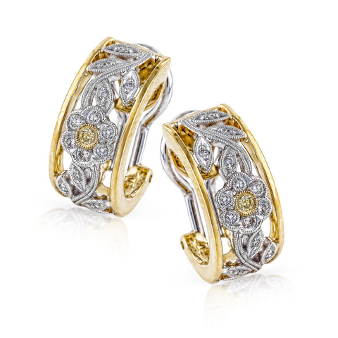 18K 2tone Diamond Earrings
