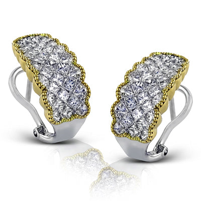 18K White Gold and Yellow Gold Diamond Princess Cut Earrings