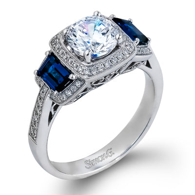 18K White Gold Diamond & Trapezoid Cut Sapphire Ring
