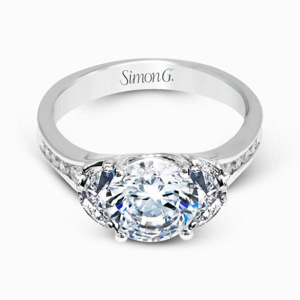 18K 3-stone with Diamond Engagement Ring