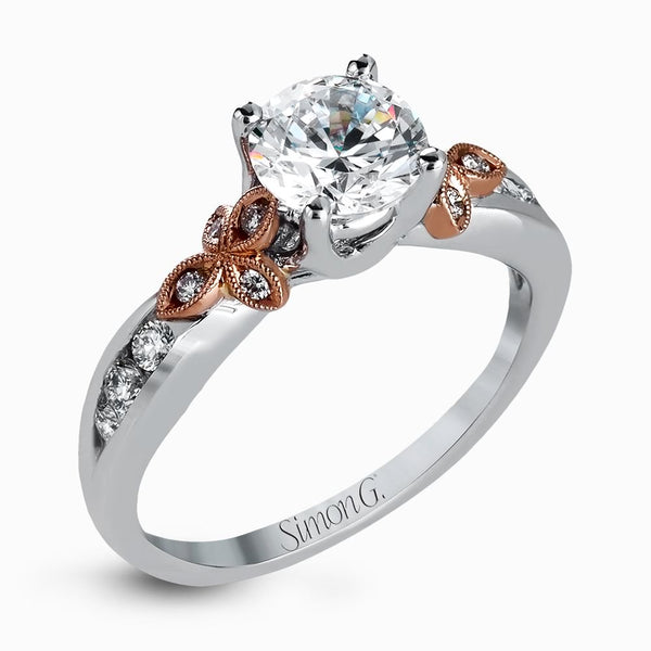18K White Gold Diamond with Rose Gold Accent