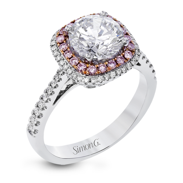 18K White Gold & Rose Gold Double Halo Diamond Halo Engagement Ring