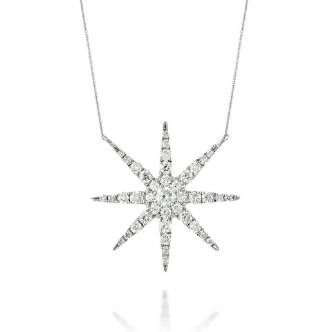 Doves - White Gold Diamond Star Fashion Necklace