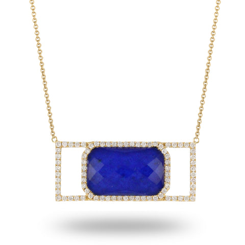 18K Yellow Gold Diamond and Lapis Necklace