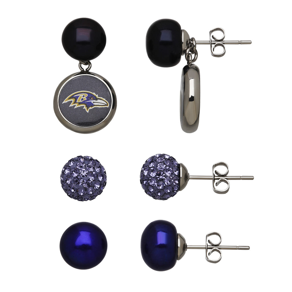 Ravens Triple Stud Earrings - Kuhn's Jewelers