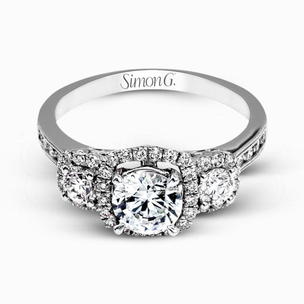 18K 3-stone with Diamond halo Engagement Ring