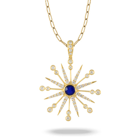 18K Yellow Gold Diamond/Lapis Pendant
